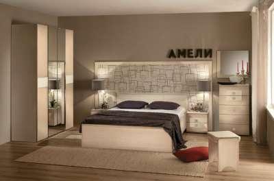 Спальня Амели (Дуб беленый) Глазов-мебель Вариант 1